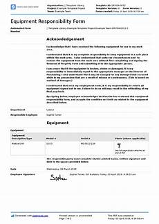 Employee Forms Templates Employee Equipment Responsibility Form Free And Editable