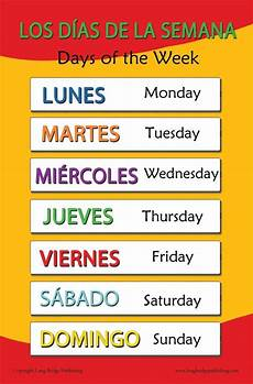 English Language Charts For Classroom Spanish Language School Poster Days Of The Week Wall