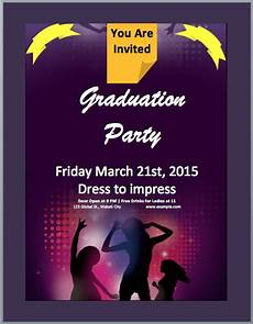Free Party Templates For Word Graduation Party Invitation Flyer Template Word