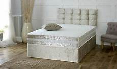 crushed velvet divan bed with matching mattress and