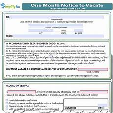 Texas Notice To Vacate Form Texas Notice To Vacate