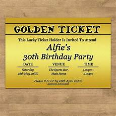 Golden Ticket Invitation Personalised Golden Ticket Birthday Party Invites