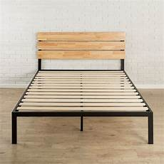 size heavy duty metal platform bed frame with wood