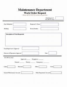 Maintenance Job Card Template Work Request Form Maintenance Work Order Request Form