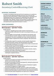 Inventory Control Clerk Resume Receiving Clerk Resume Samples Qwikresume