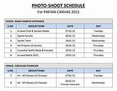 Shooting Schedule Sample Photo Shoot Schedule 171 Paf A Level