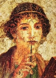 safo lienzo fresco romano de la poetisa griega pompeii