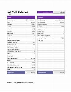 Net Worth Excel Net Worth Statement Template For Excel Word Amp Excel
