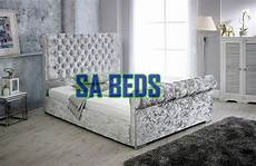 stunning chesterfield upholstered sleigh bed frame with