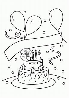 birthday cake and balloons coloring page for
