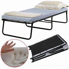 single portable folding bed w memory foam mattress cot
