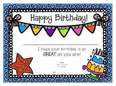 Free Printable Birthday Certificates Birthday Certificates By Mary Emison Teachers Pay Teachers