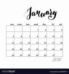 2015 2020 Monthly Calendar Monthly Calendar For 2020 Year Royalty Free Vector Image