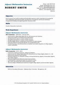 Adjunct Instructor Resume Adjunct Mathematics Instructor Resume Samples Qwikresume
