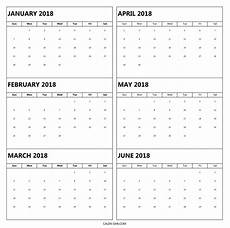 6 Month Calendar On One Page 6 Month 2018 Calendar Printable