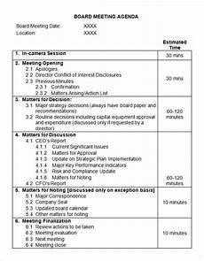 Board Agenda Template Free 11 Sample Board Meeting Agenda Templates In Pdf Ms