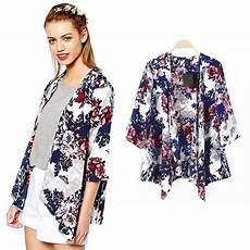 floral batwing sleeve cardigan salt new outerwear open front floral print batwing 3 4