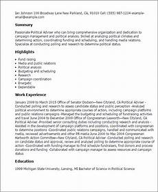 Political Resume Examples Professional Political Adviser Templates To Showcase Your