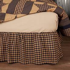 primitive bedding navy check bed skirt country vintage