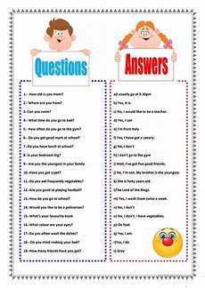 Situational Questions And Answers Questions And Answers Worksheet Free Esl Printable