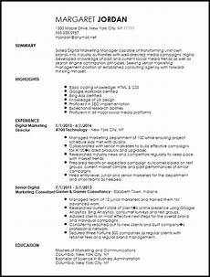 Cv Format For Marketing Executive Free Executive Digital Marketing Manager Resume Template