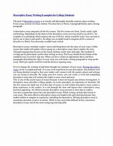 Examples Of Descriptive Essay Descriptive Essay Writing Examples For College Students