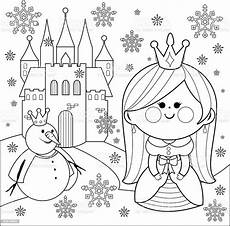 Malvorlagen Prinzessin Schloss Princess Castle And A Snowman Coloring Book Page Stock