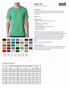 Anvil T Shirts Size Chart Anvil 980 4 5 Oz Ringspun Cotton Short Sleeve T Shirt 3