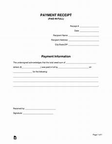 Receipt For Money Paid Paid In Full Receipt Template Eforms Free Fillable Forms