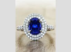 Shaye: Double Halo Oval Sapphire Ring, Checkerboard Cut