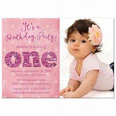 Baby Birthday Invitation Templates Ist Birthday Party Photo Invitations Sparkle One