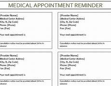 Appointment Reminder Template Word Medical Appointment Reminder My Excel Templates