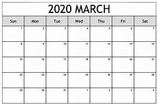 Monthly Calendar Template 2020 Word March 2020 Calendar Printable Template Pdf Word Excel