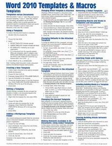 Cheat Sheet Template Word Microsoft Word 2010 Templates Amp Macros Quick Reference