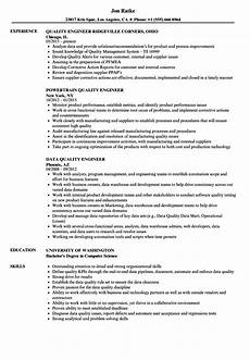 Quality Engineer Sample Resume Quality Engineer Quality Engineer Resume Samples Velvet Jobs