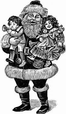 Black And White Christmas Graphics 6 Santa Illustrations Black And White The Graphics Fairy