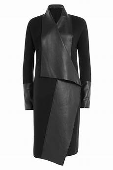 donna karan wool coat with leather black in gray lyst