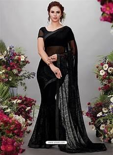Black Georgette Designer Saree Buy Black Georgette Designer Embroidered Party Wear Saree