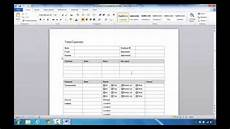 How To Create Expenses Report In Excel How To Create An Expense Report In Microsoft Word 2010