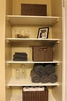 shelves in bathroom ideas km decor diy organizing open shelving in a bathroom