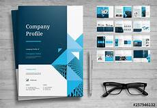 Company Profile Template For Interior Design Company Profile Layout With Blue Accents Buy This Stock