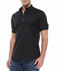 mens button shirts sleeve arm mcqueen sleeve button shirt in black