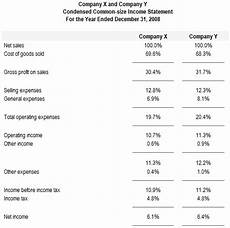 Common Size Financial Statements Preparation Of Common Size Financial Statements
