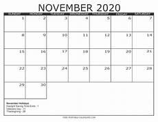 November 2020 Calendar Printable Free 2020 Calendar Style 3 Free Printable Calendars