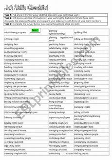 Job Skills Worksheets Job Skills Checklist Esl Worksheet By Gscass