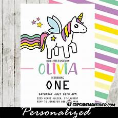 Toddler Birthday Invitation Rainbow Unicorn Party Invitations Enchanted Toddler Girl