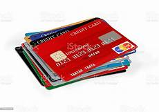 Credit Card Calc Stack Of Blank Credit Cards On White Background Stock
