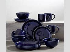 Joshua Dinnerware 16 Piece Set  Navy Blue   Pottery Barn
