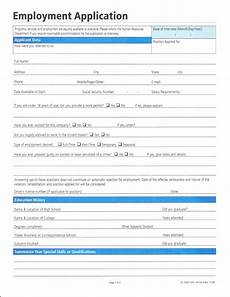 Employment Application Forms Free Employment Application