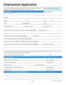 Employement Application Form Employment Application